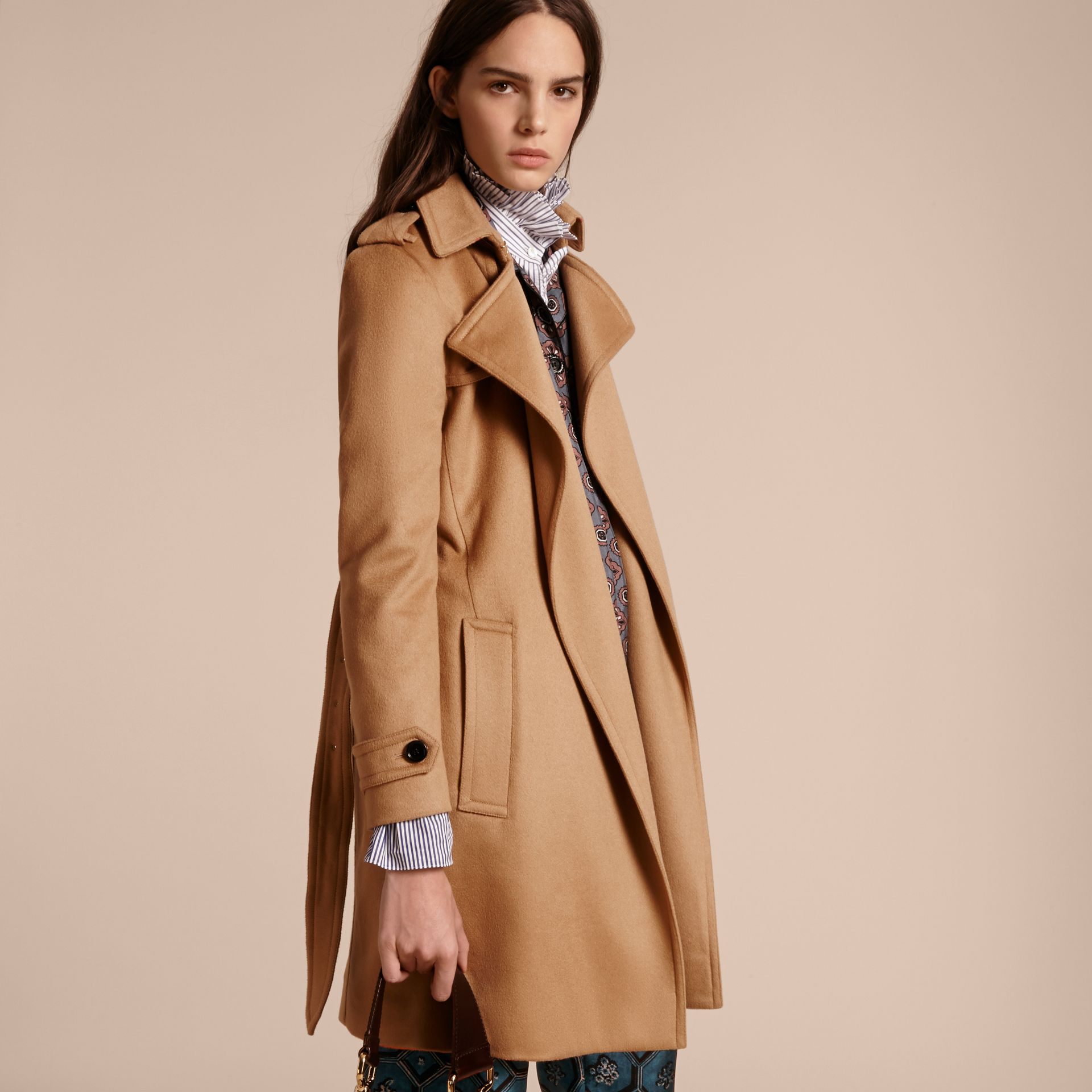 Cashmere Wrap Trench Coat Camel - gallery image 7