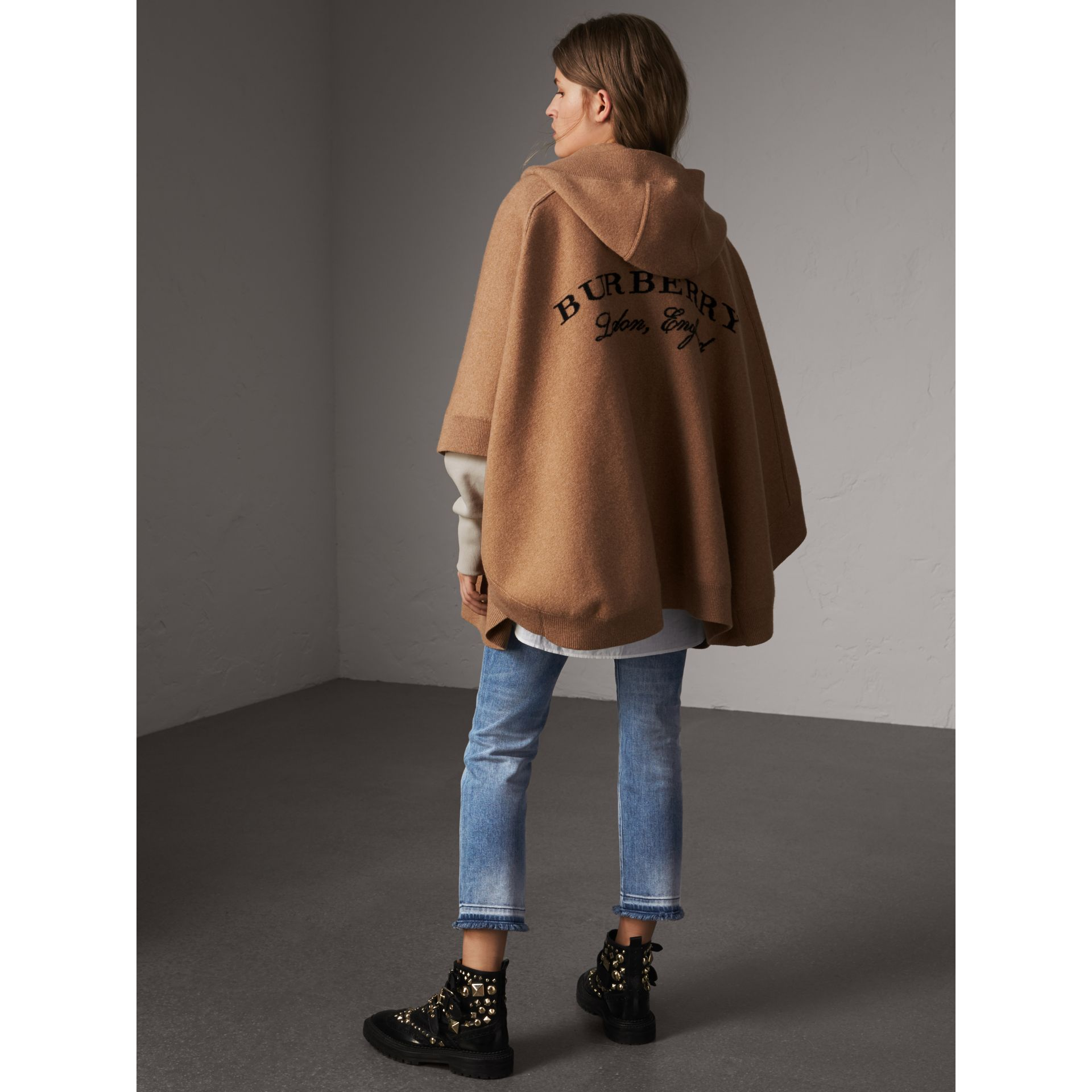 Wool Cashmere Blend Hooded Poncho in Camel - Women | Burberry United Kingdom - gallery image 3