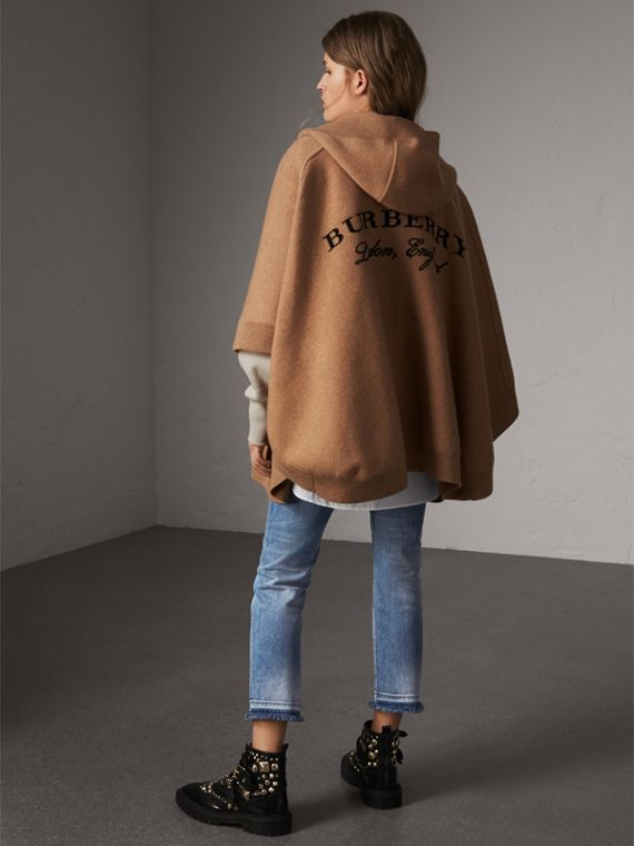 Wool Cashmere Blend Hooded Poncho in Camel - Women | Burberry - cell image 2
