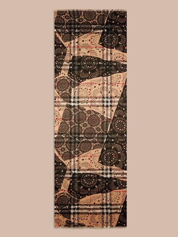 Camel/black Patchwork Lace Print Check Wool Silk Scarf - cell image 3
