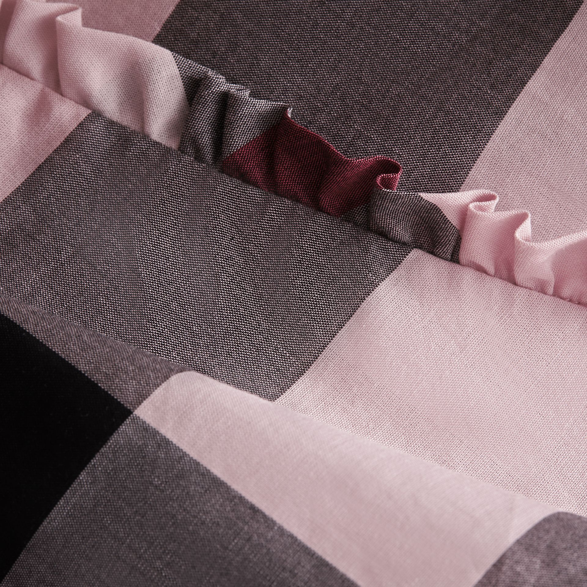Ruffle Detail Check Cotton Top in Vintage Pink | Burberry - gallery image 2