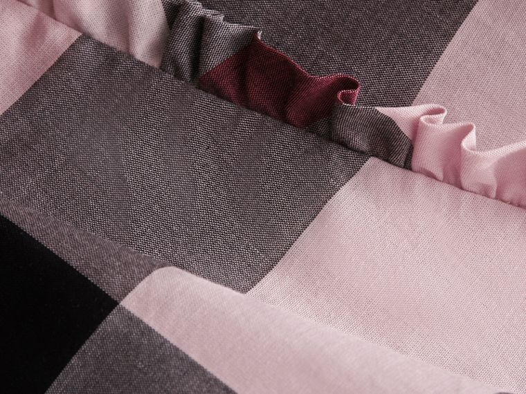 Ruffle Detail Check Cotton Top in Vintage Pink | Burberry - cell image 1