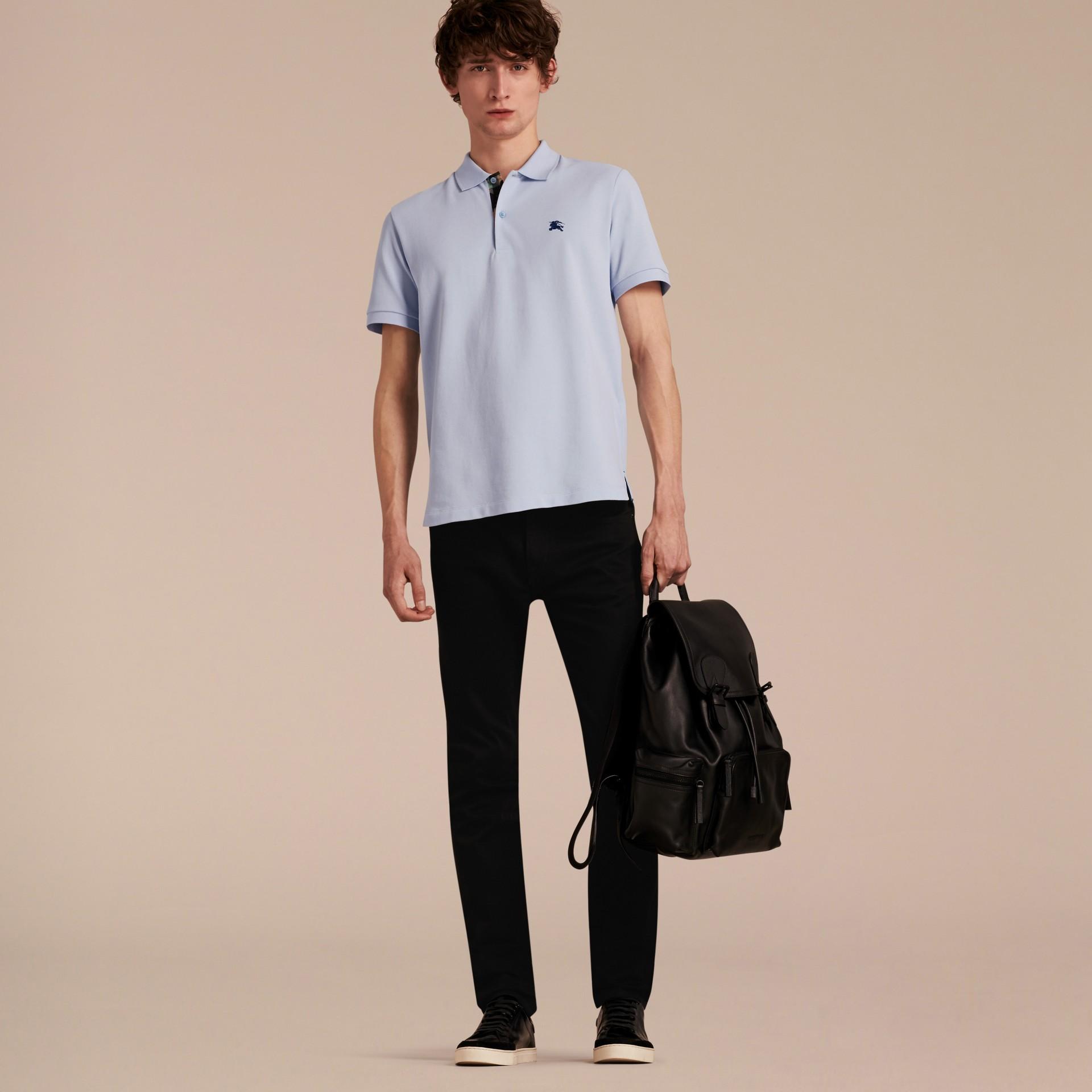 Printed Check Placket Cotton Piqué Polo Shirt - gallery image 6