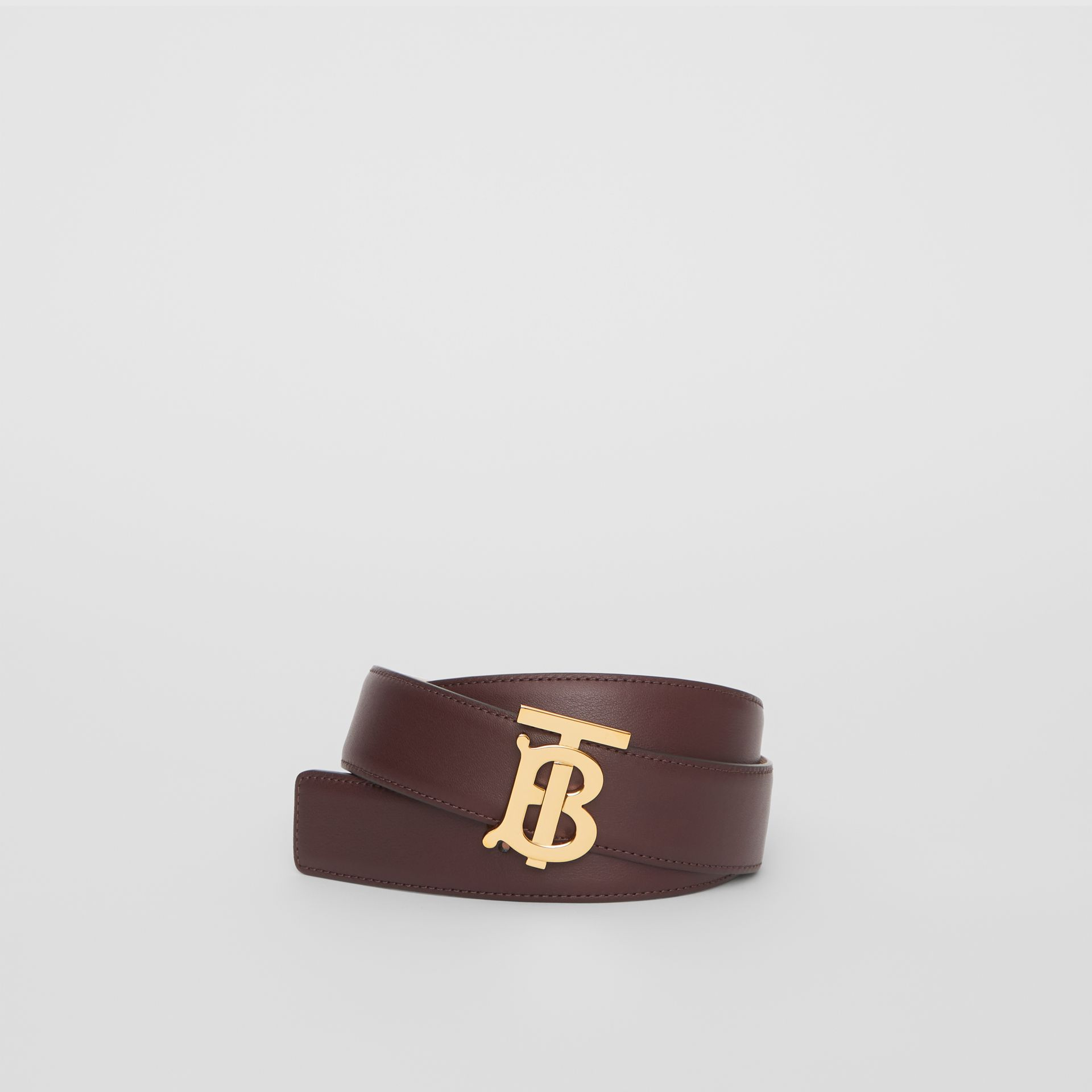 Reversible Monogram Motif Leather Belt in Oxblood/rose Beige - Women | Burberry United Kingdom - gallery image 0