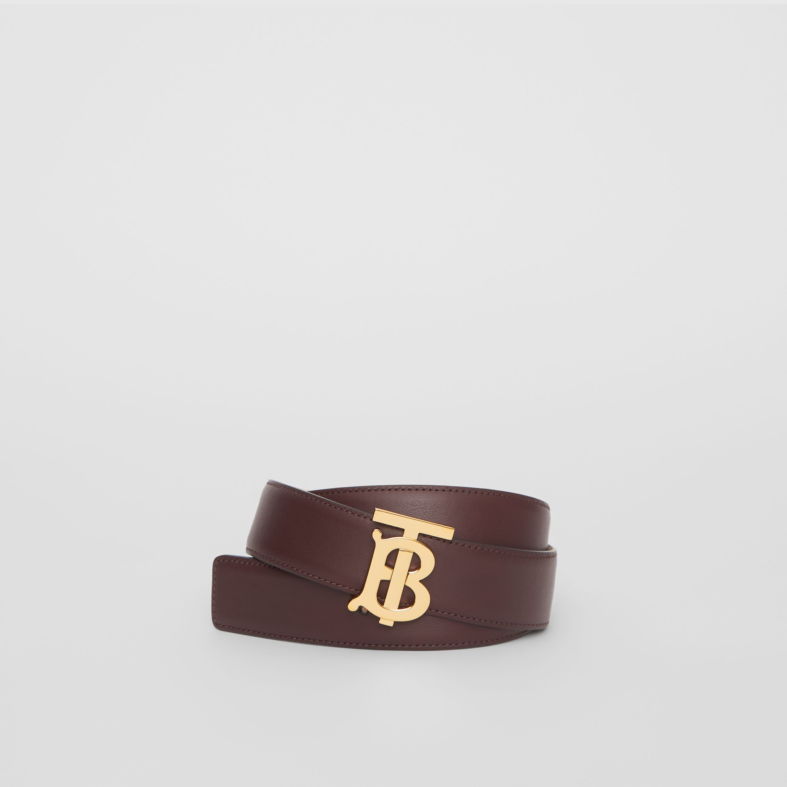Reversible Monogram Motif Leather Belt in Oxblood/rose Beige - Women | Burberry - 1