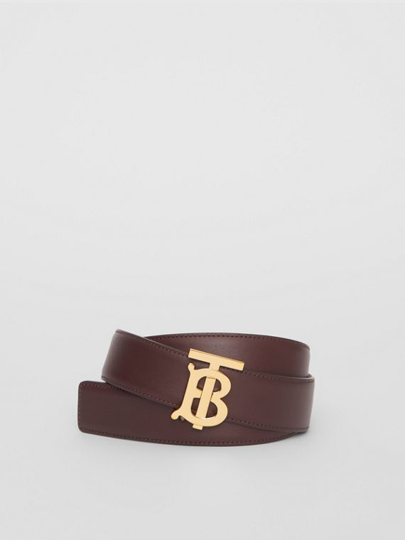 Reversible Monogram Motif Leather Belt in Oxblood/rose Beige