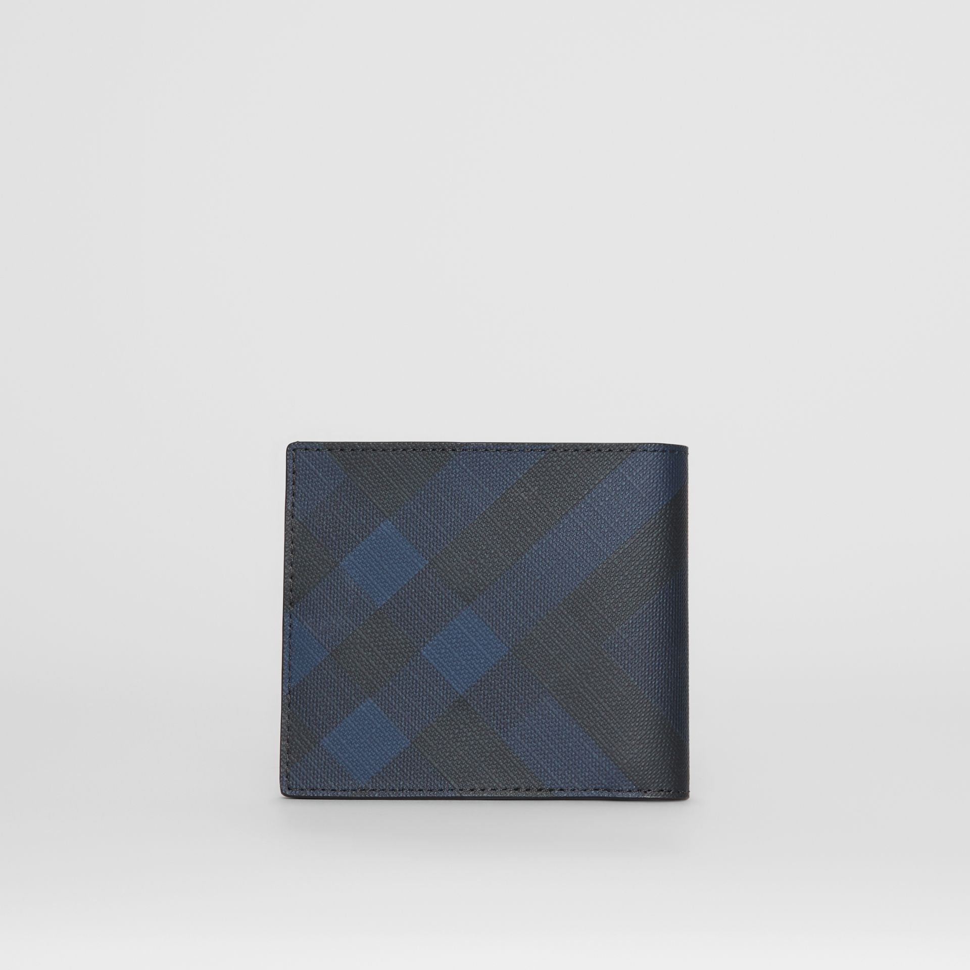 London Check and Leather International Bifold Wallet in Navy/black - Men | Burberry United Kingdom - gallery image 4
