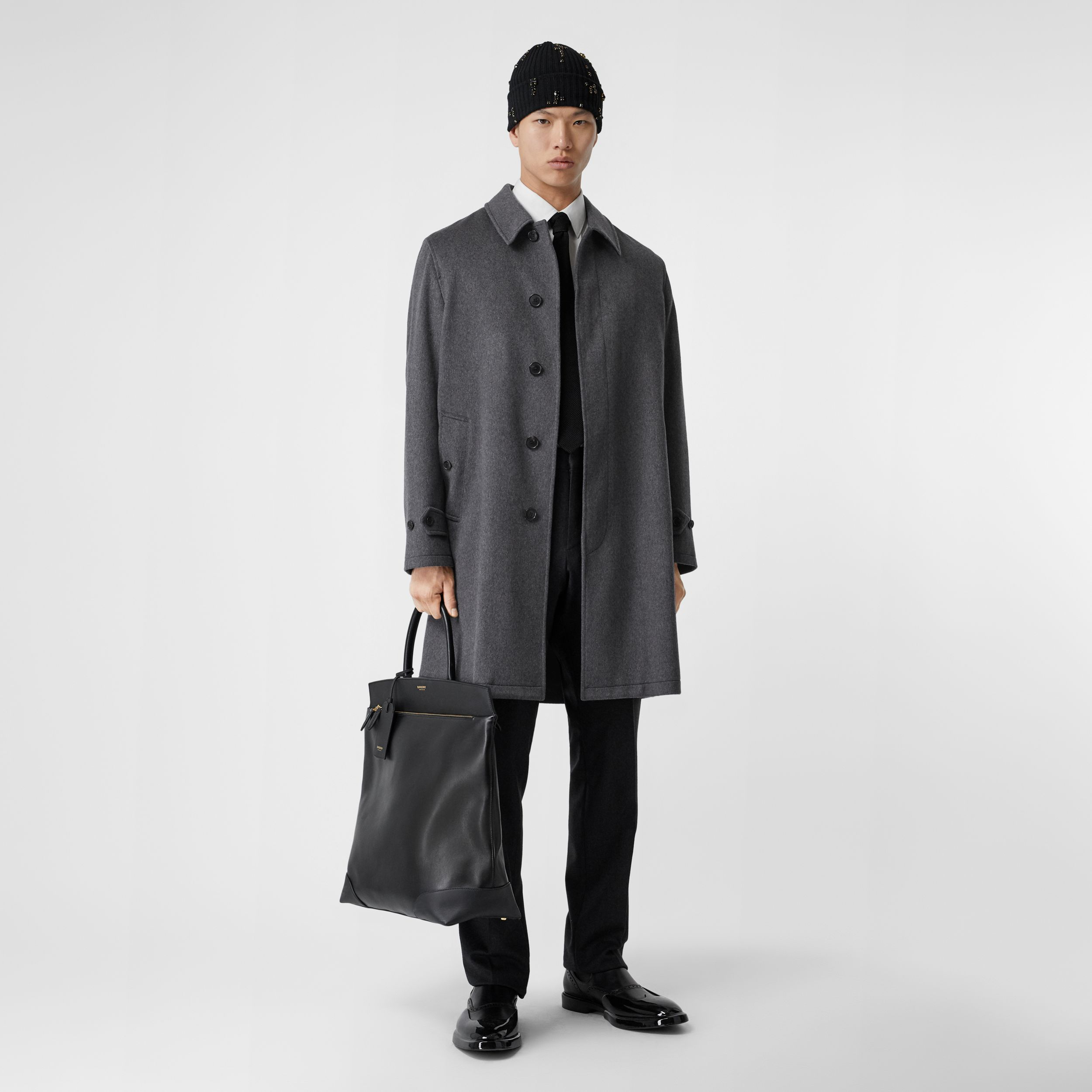 Cashmere Car Coat in Pewter Melange - Men | Burberry Canada - 1