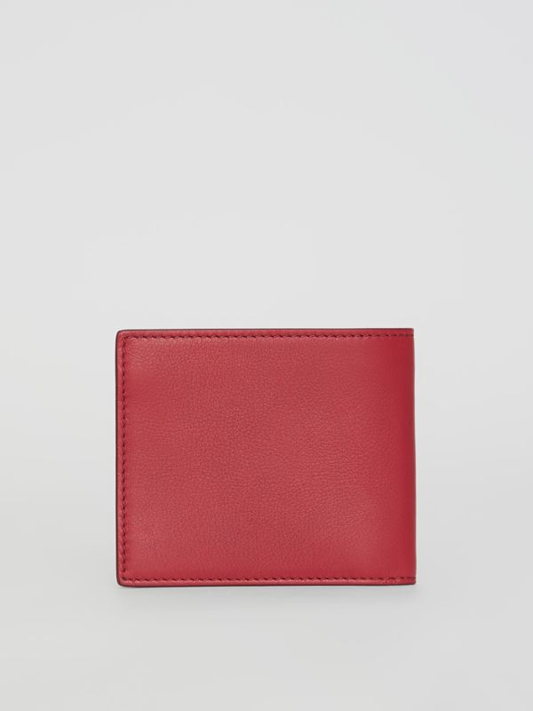 Embossed Crest Leather International Bifold Wallet in Crimson - Men | Burberry Australia - cell image 2