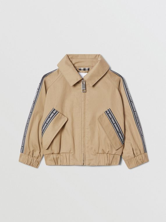Logo Tape Cotton Harrington Jacket in Honey