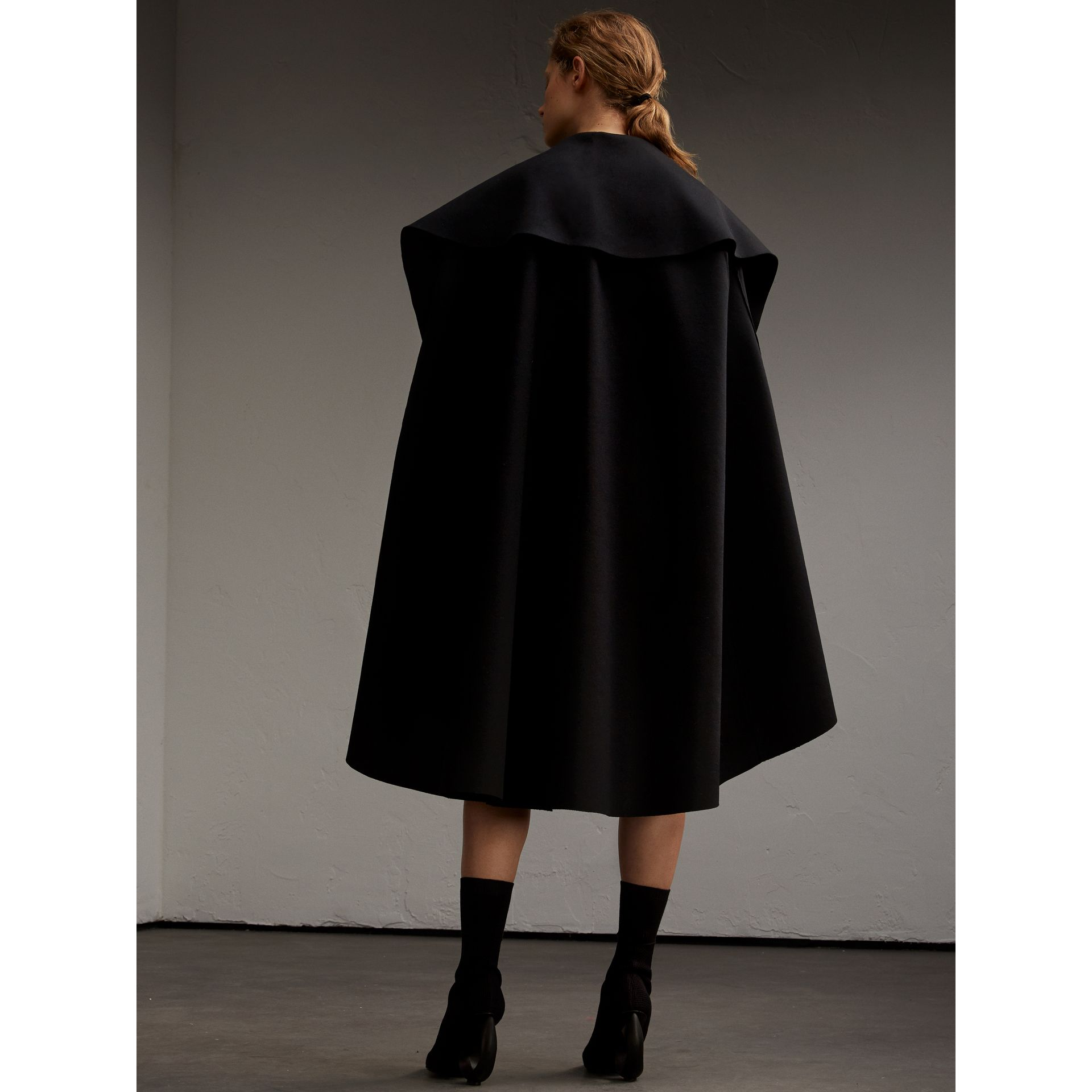 Oversize Collar Double-Faced Military Wool Cape - gallery image 3
