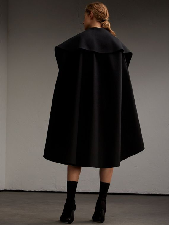 Oversize Collar Double-Faced Military Wool Cape - cell image 2