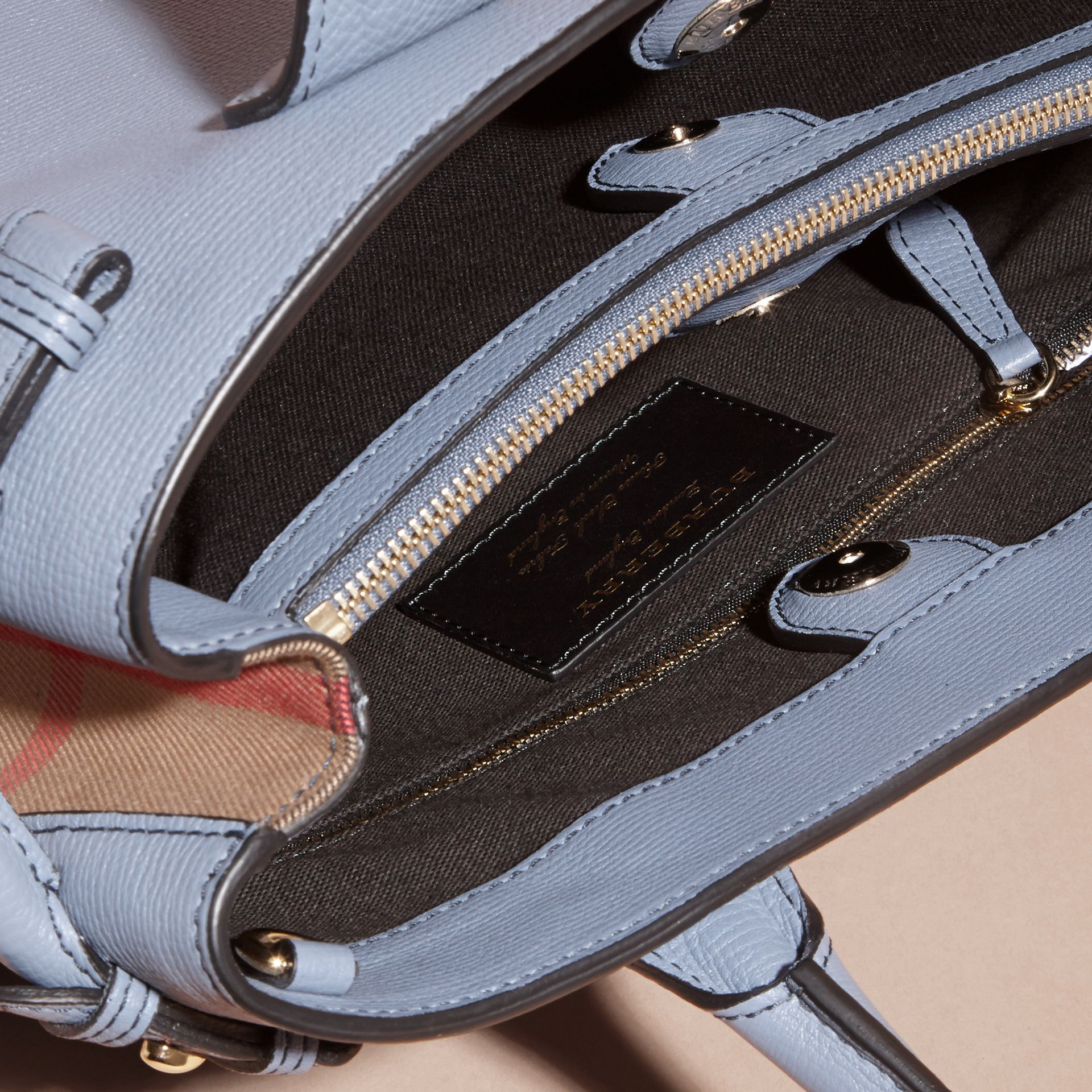 The Small Banner in Leather and House Check Slate Blue - gallery image 6