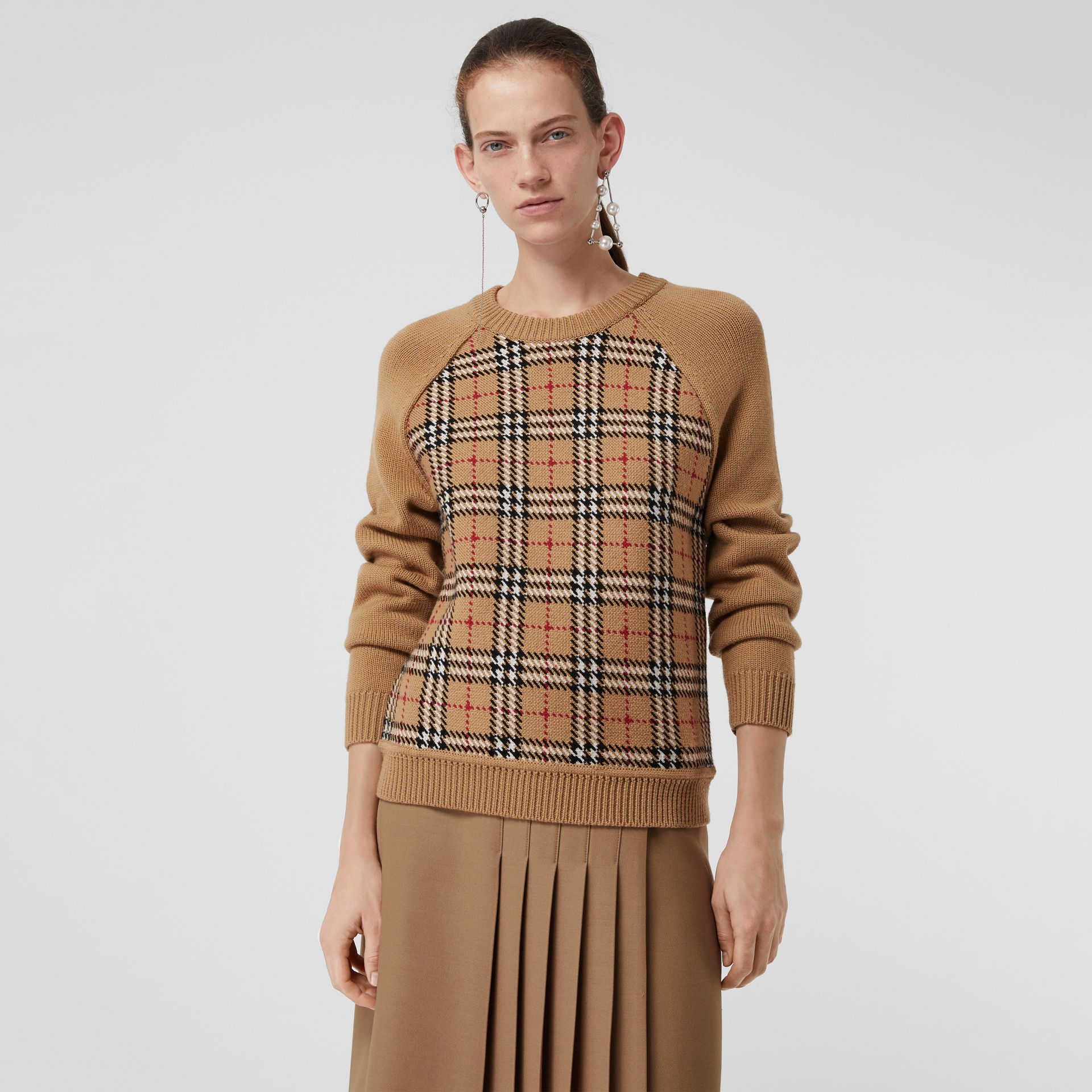 Vintage Check Wool Jacquard Sweater in Antique Yellow - Women | Burberry - gallery image 4
