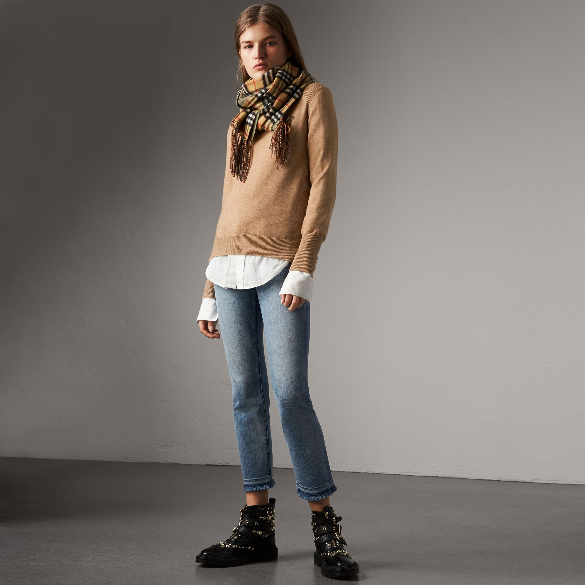 Check Detail Merino Wool Sweater in Camel - Women | Burberry Canada - gallery image 0