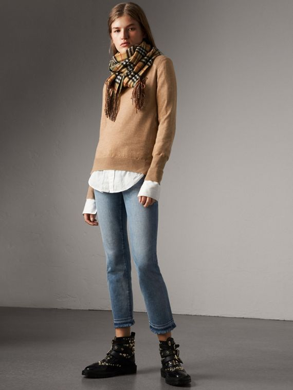 Check Detail Merino Wool Sweater in Camel