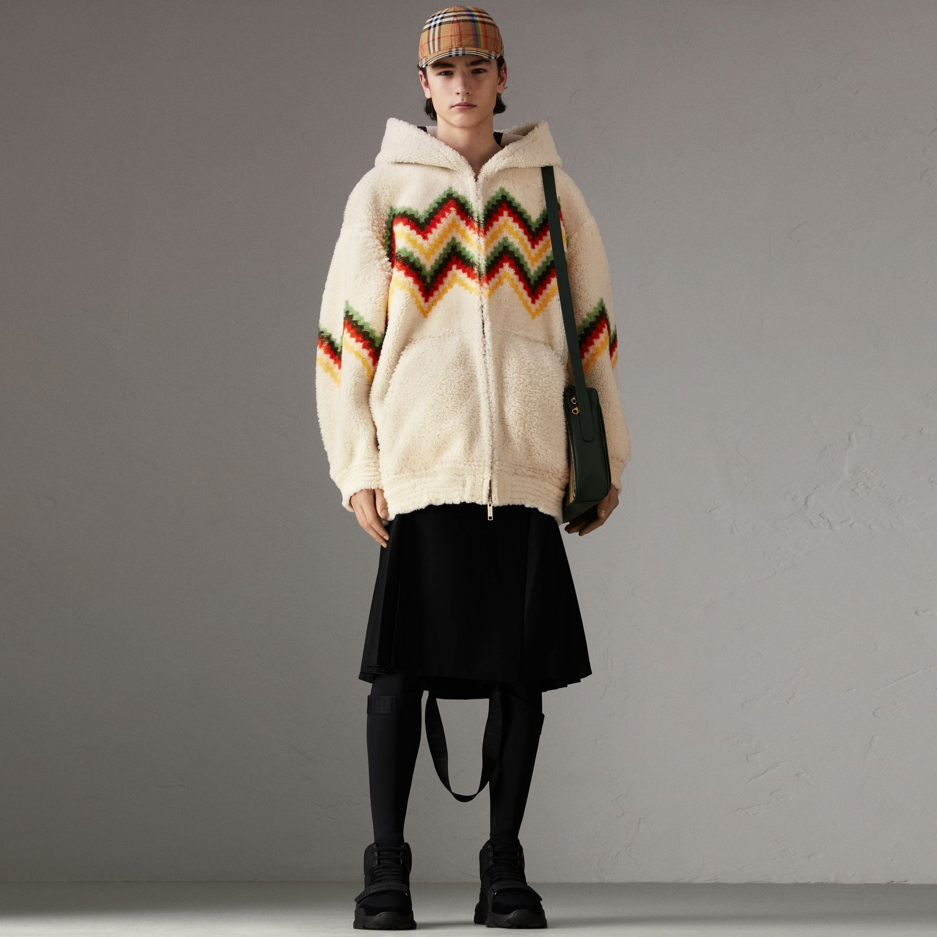 Chevron Intarsia Shearling Hoodie in Off White | Burberry - gallery image 0
