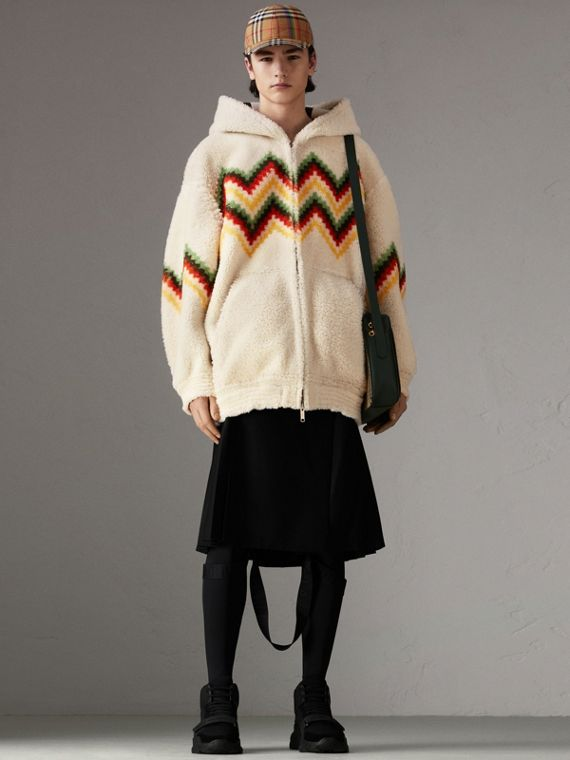 Chevron Intarsia Shearling Hoodie in Off White