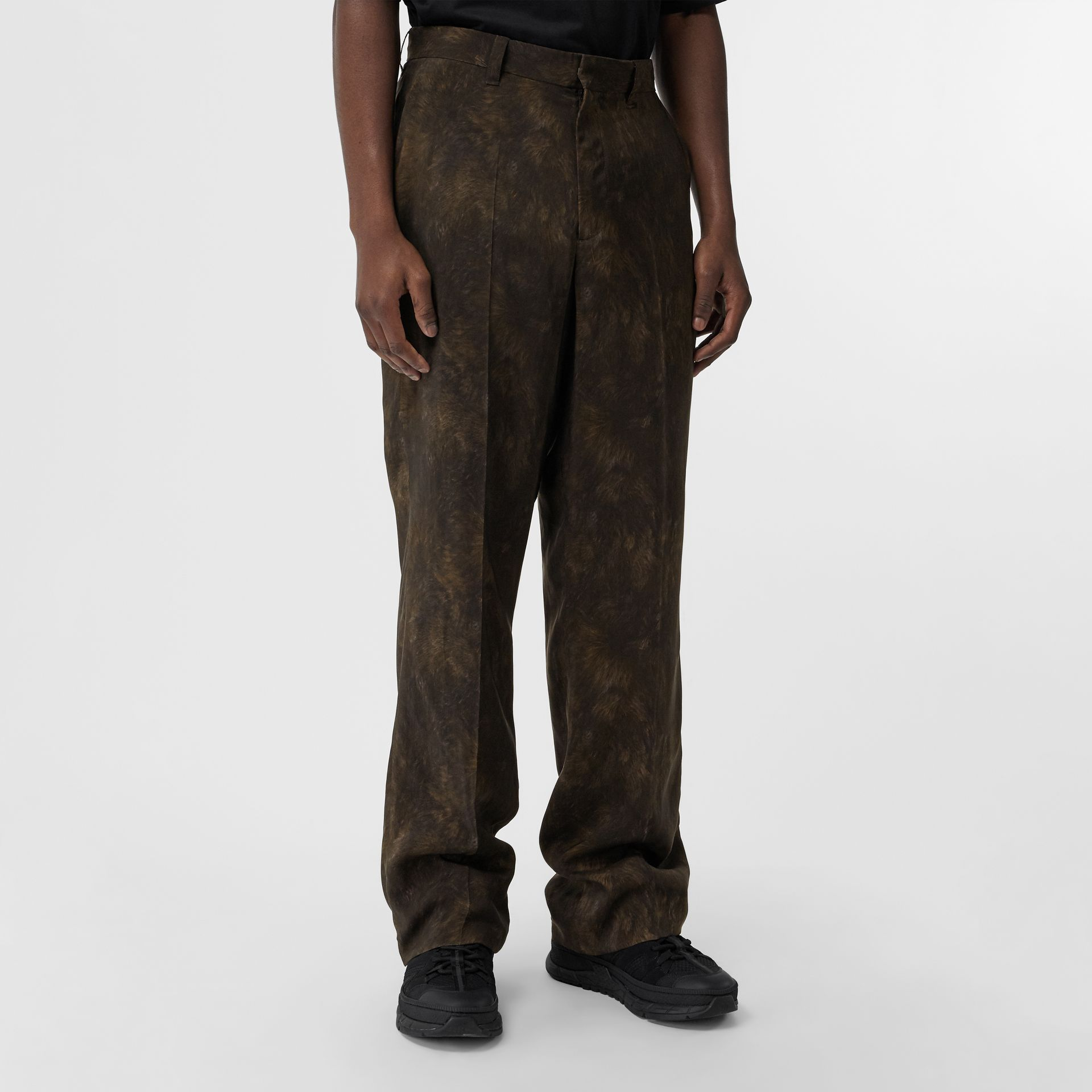 Relaxed Fit Animal Print Trousers in Brown | Burberry - gallery image 4
