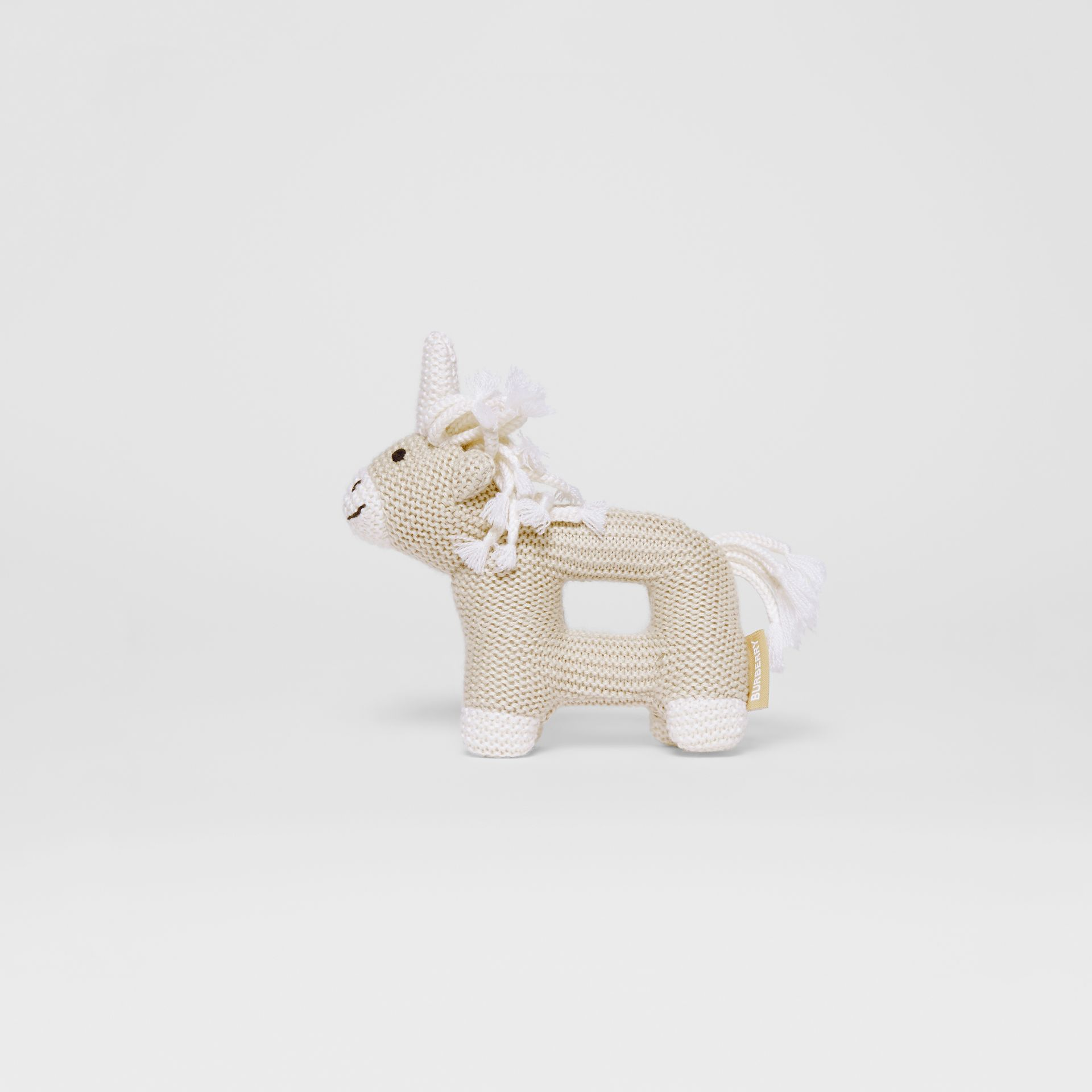 Unicorn Wool Silk Rattle in Oatmeal Melange - Children | Burberry - gallery image 0