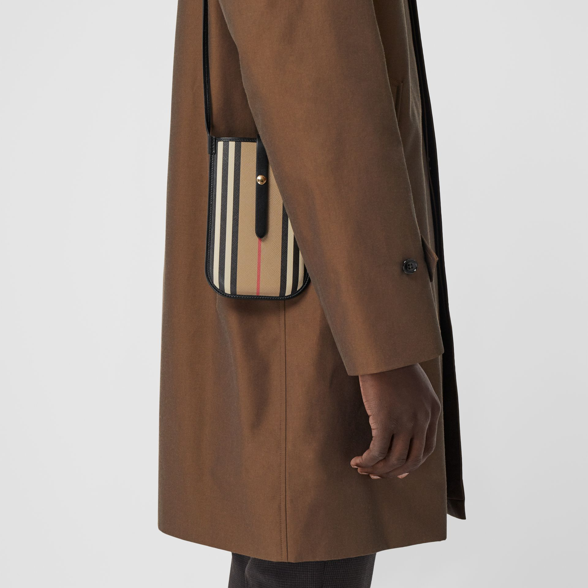 Icon Stripe E-canvas Phone Case with Strap in Archive Beige | Burberry Hong Kong S.A.R - gallery image 1