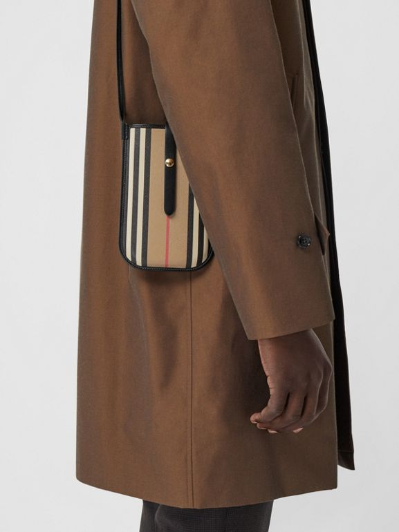 Icon Stripe E-canvas Phone Case with Strap in Archive Beige | Burberry - cell image 1