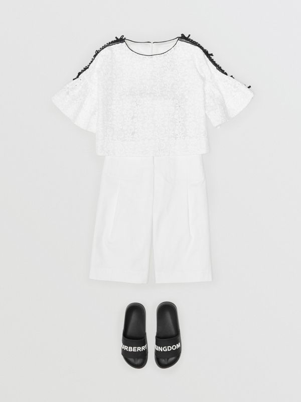 Lace Trim Embroidered Cotton Top in White | Burberry - cell image 3