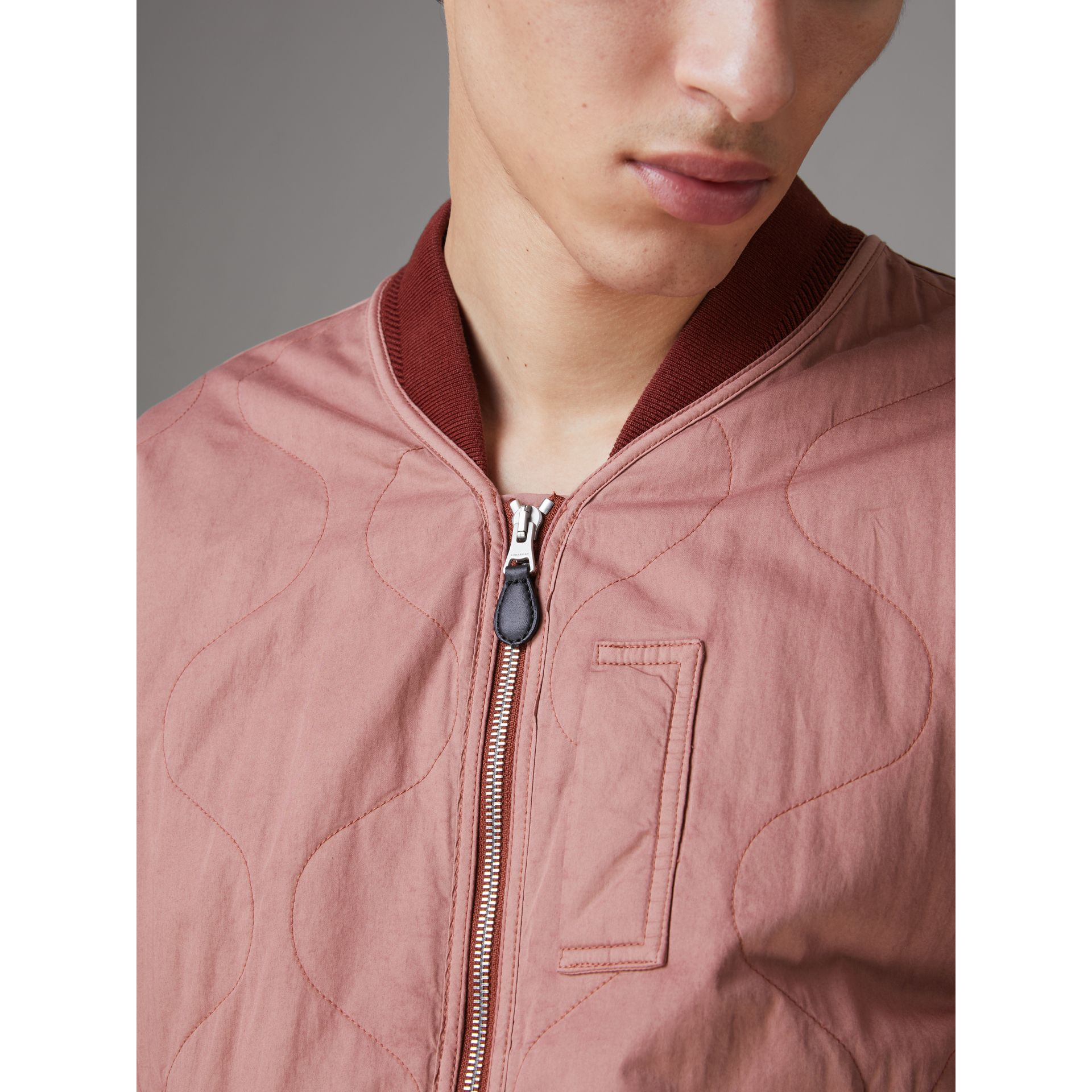 Lightweight Quilted Cotton Bomber Jacket in Rosewood - Men | Burberry United Kingdom - gallery image 1