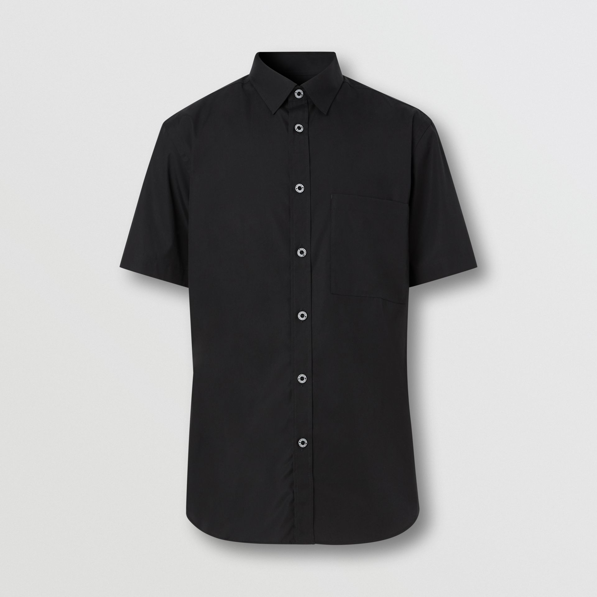 Short-sleeve Slim Fit Stretch Cotton Poplin Shirt in Black - Men | Burberry - gallery image 3