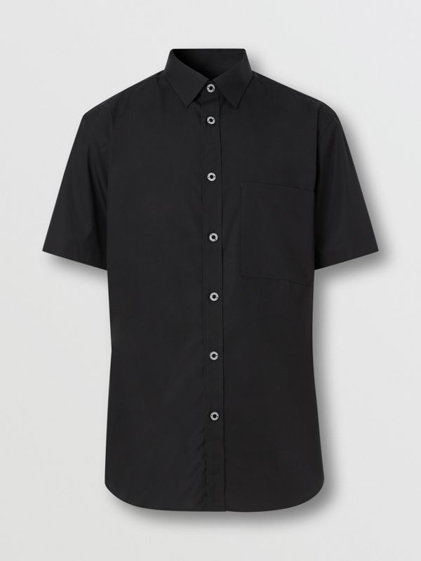 Short-sleeve Slim Fit Stretch Cotton Poplin Shirt in Black - Men | Burberry - cell image 3