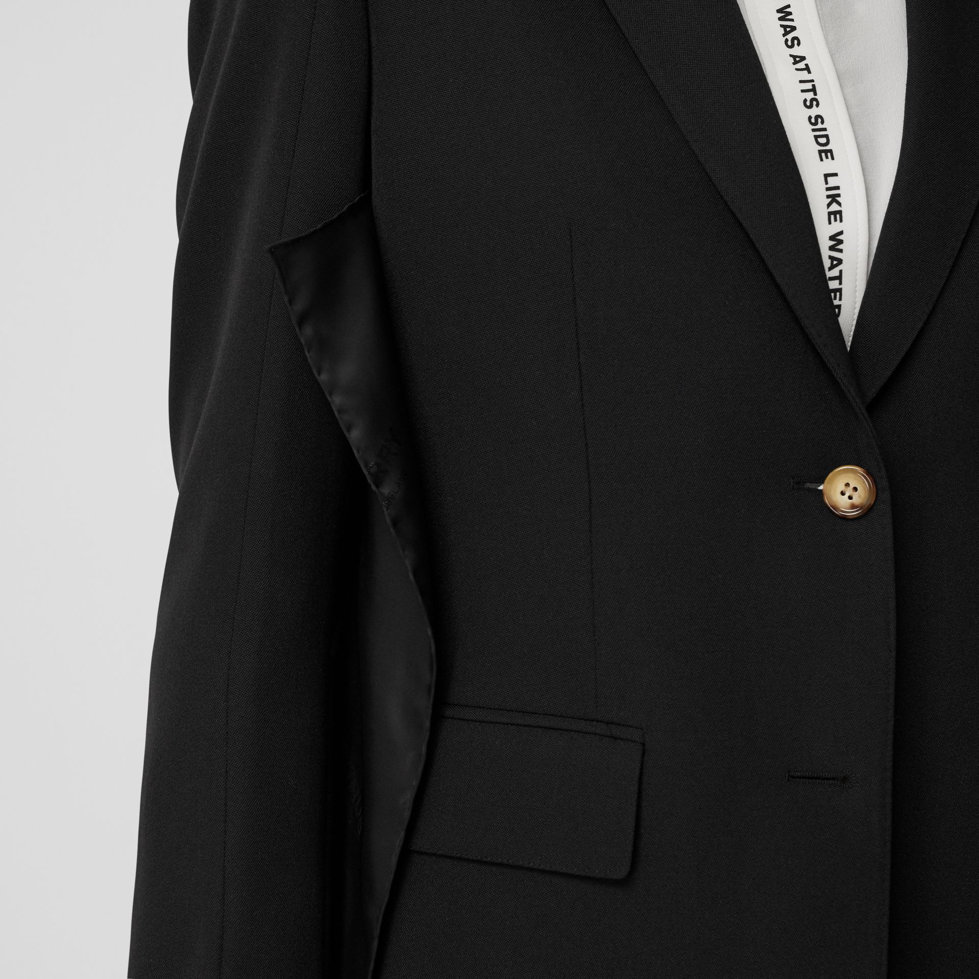 Logo Panel Detail Wool Tailored Jacket in Black - Women | Burberry United States - gallery image 1