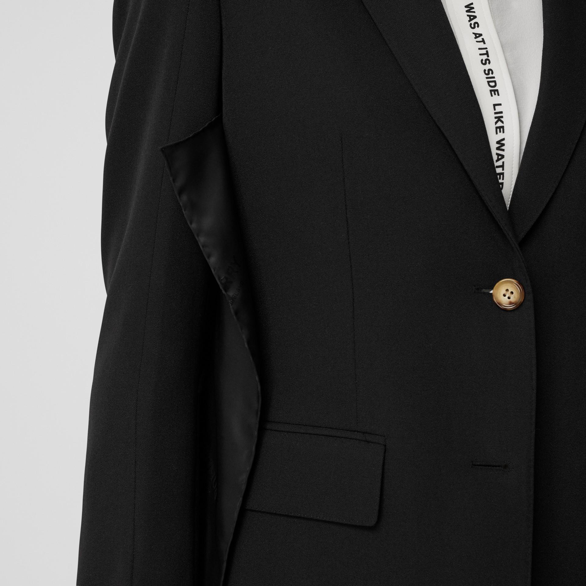 로고 패널 디테일 울 테일러드 재킷 (블랙) - 여성 | Burberry - 갤러리 이미지 1