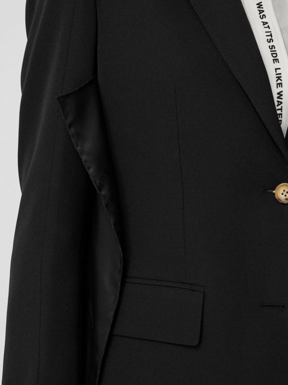 Logo Panel Detail Wool Tailored Jacket in Black - Women | Burberry United Kingdom - cell image 1