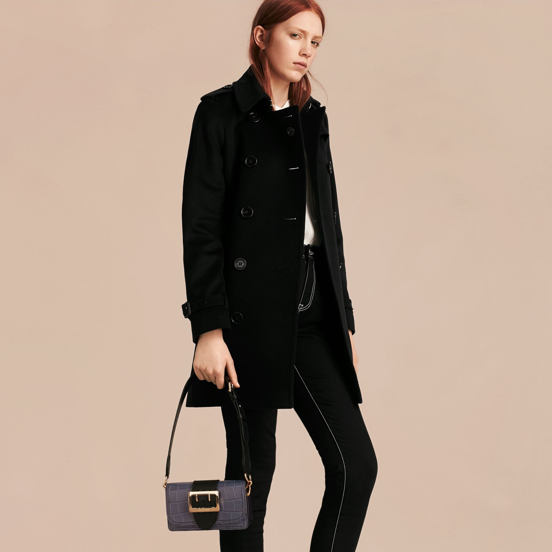 The Small Buckle Bag in Alligator and Leather in Navy / Black - Women | Burberry Canada - gallery image 3