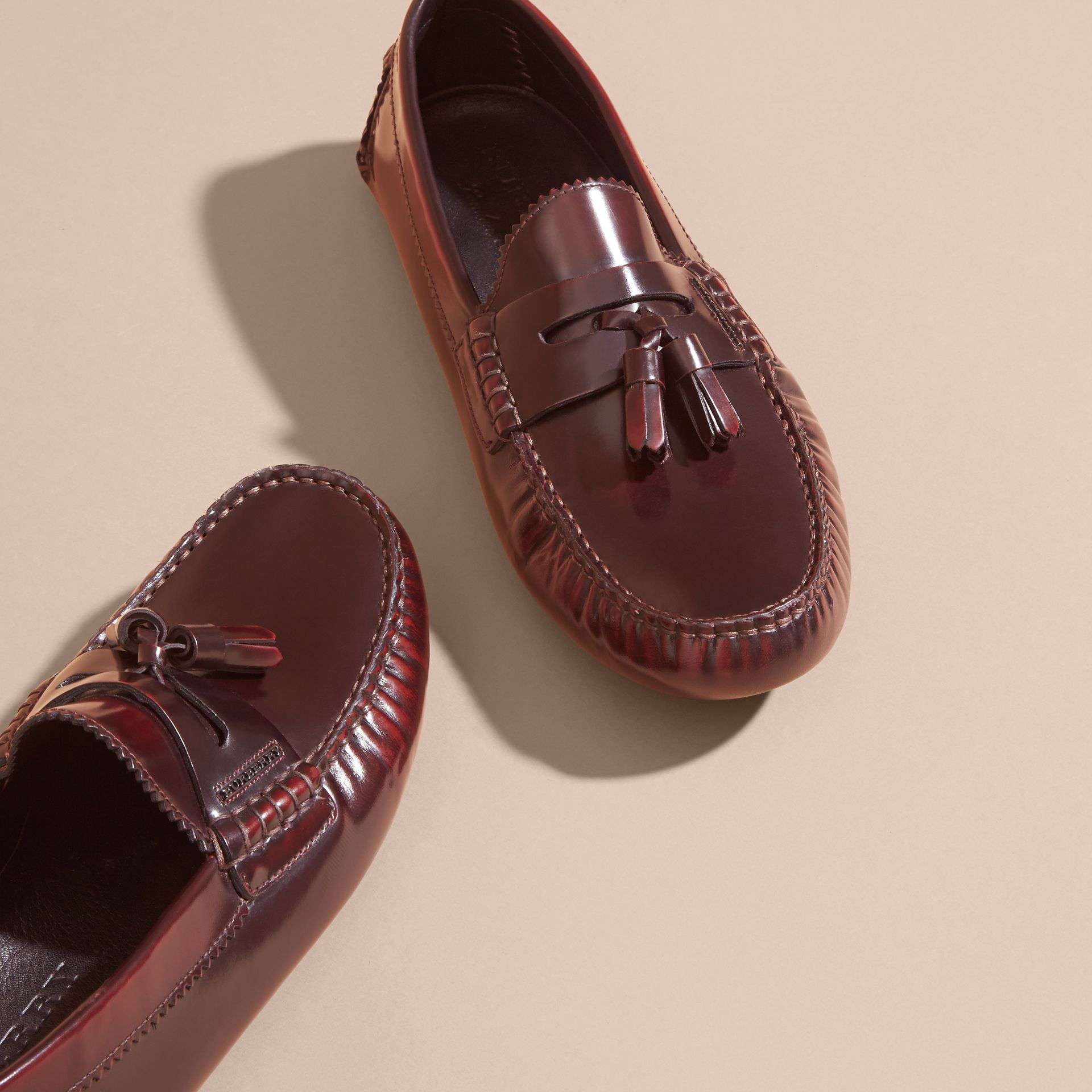 Tasselled Polished Leather Loafers Bordeaux - gallery image 3