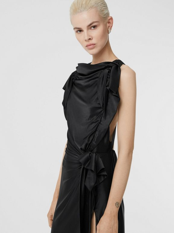 Tie Detail Stretch Jersey Gown in Black - Women | Burberry - cell image 1