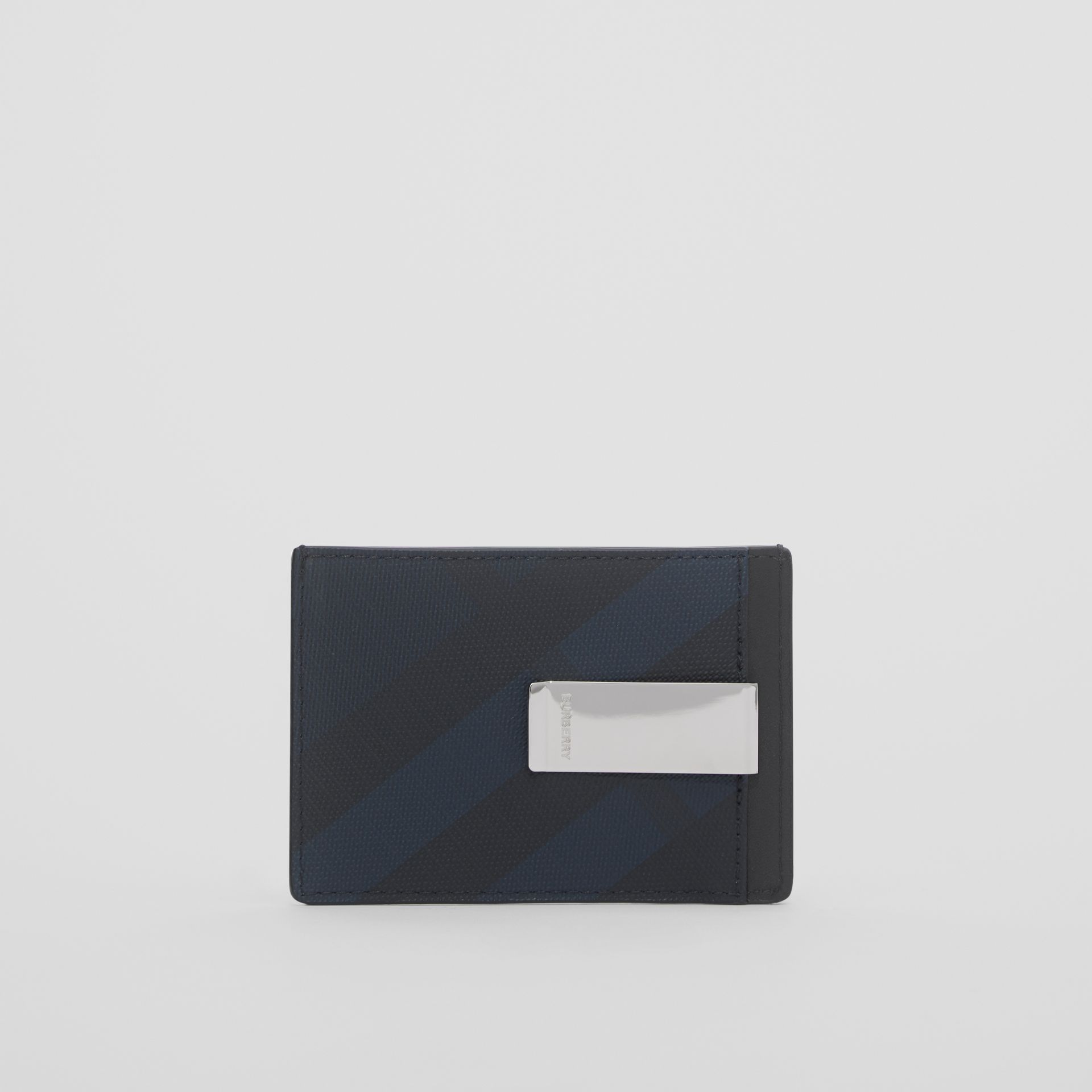 London Check and Leather Money Clip Card Case in Navy - Men | Burberry - gallery image 4