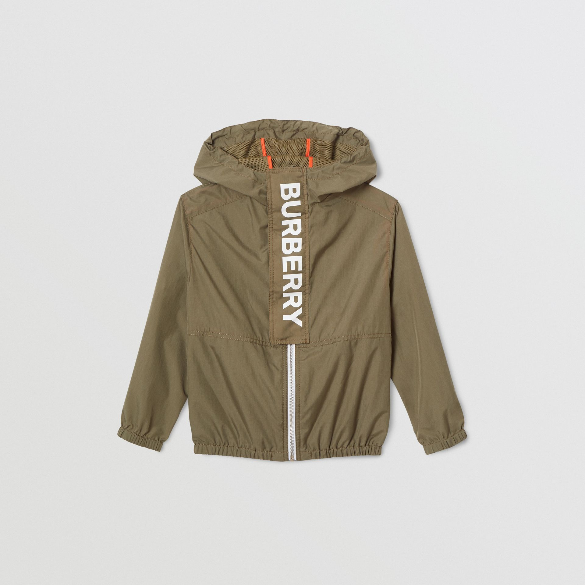 Logo Print Lightweight Hooded Jacket in Military Green | Burberry - gallery image 0