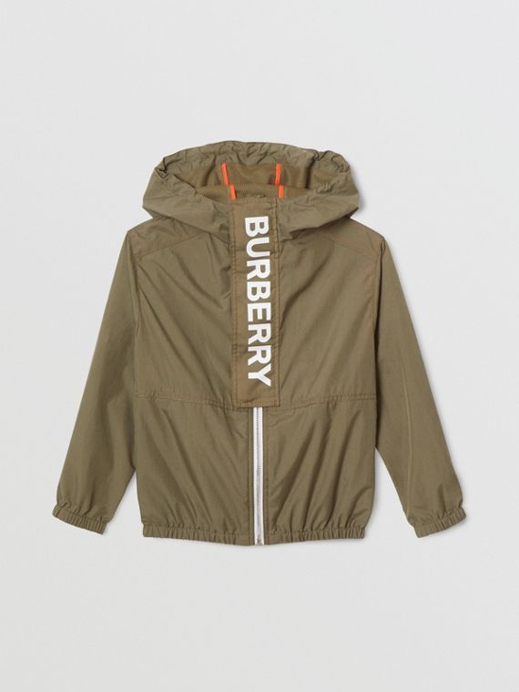 Logo Print Lightweight Hooded Jacket in Military Green