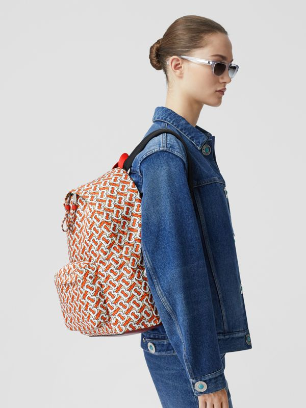 Monogram Print Nylon Backpack in Vermillion | Burberry United States - cell image 2