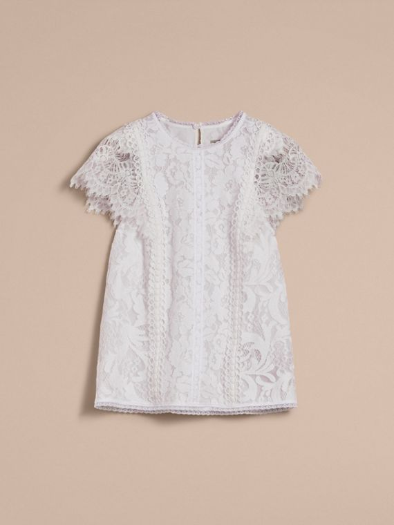 Scalloped Cap Sleeve Floral Lace Top - Women | Burberry - cell image 3