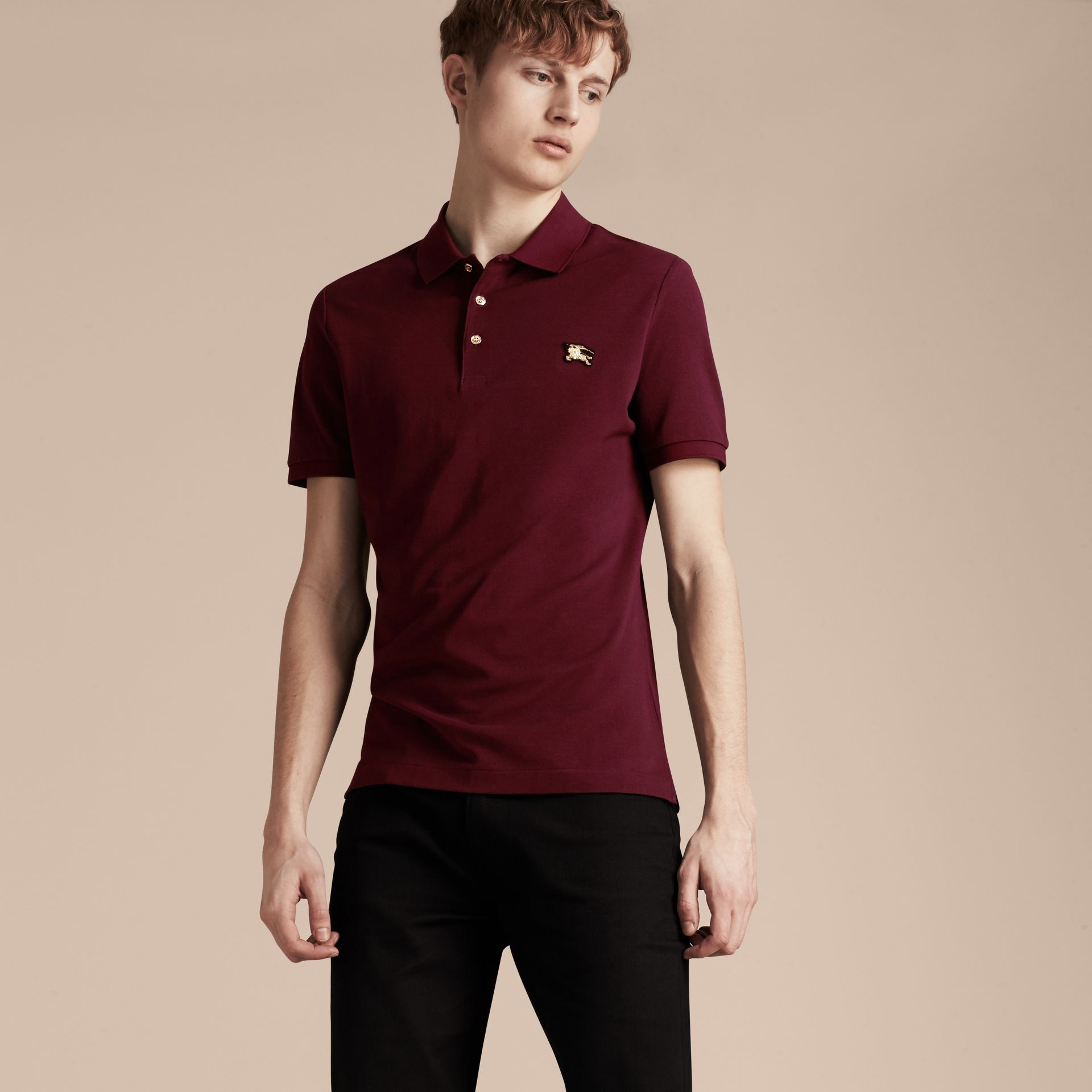 Burgundy red Fitted Mercerised Cotton-Piqué Polo Shirt Burgundy Red - gallery image 6
