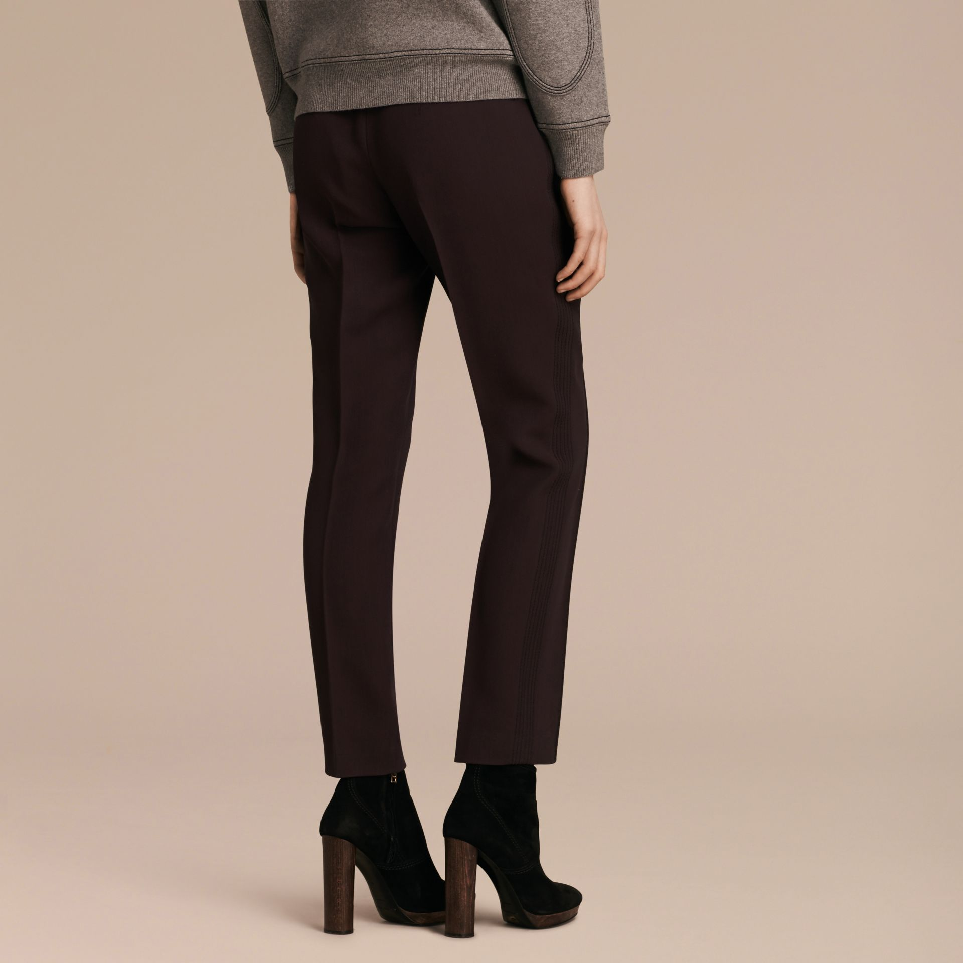 Dark elderberry Wool Silk Straight Leg Trousers Dark Elderberry - gallery image 3