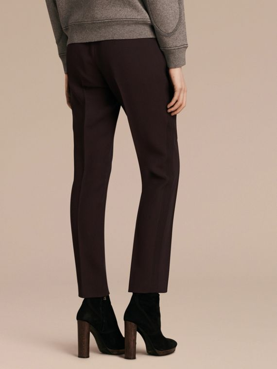 Dark elderberry Wool Silk Straight Leg Trousers Dark Elderberry - cell image 2