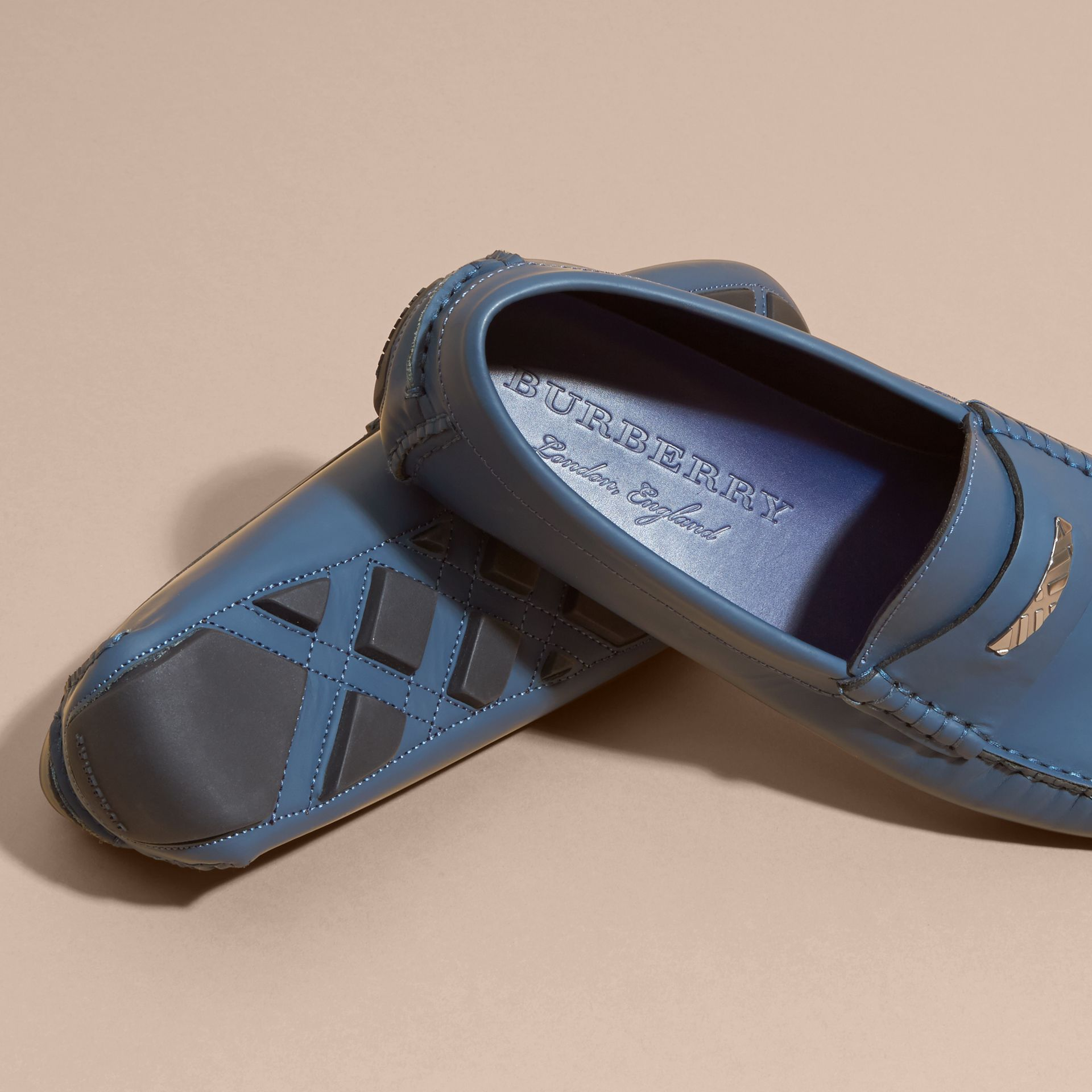 Leather Loafers with Engraved Check Detail Dark Mineral Blue - gallery image 6