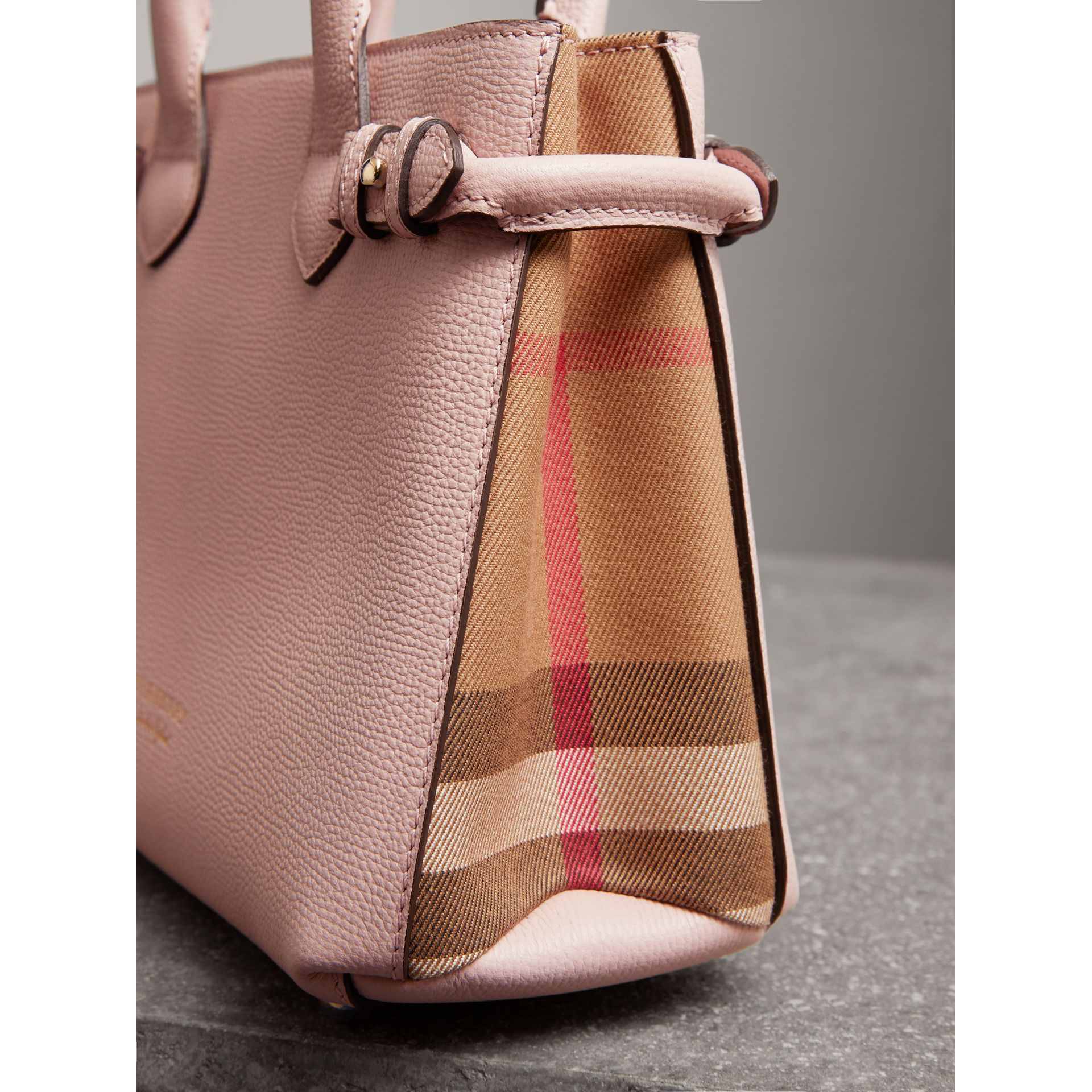 The Small Banner in Leather and House Check in Pale Orchid - Women | Burberry - gallery image 1