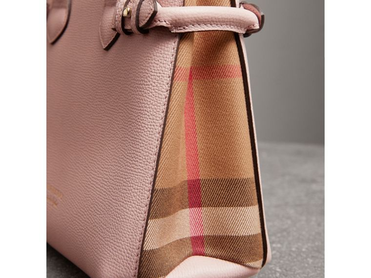 The Small Banner in Leather and House Check in Pale Orchid - Women | Burberry United Kingdom - cell image 1