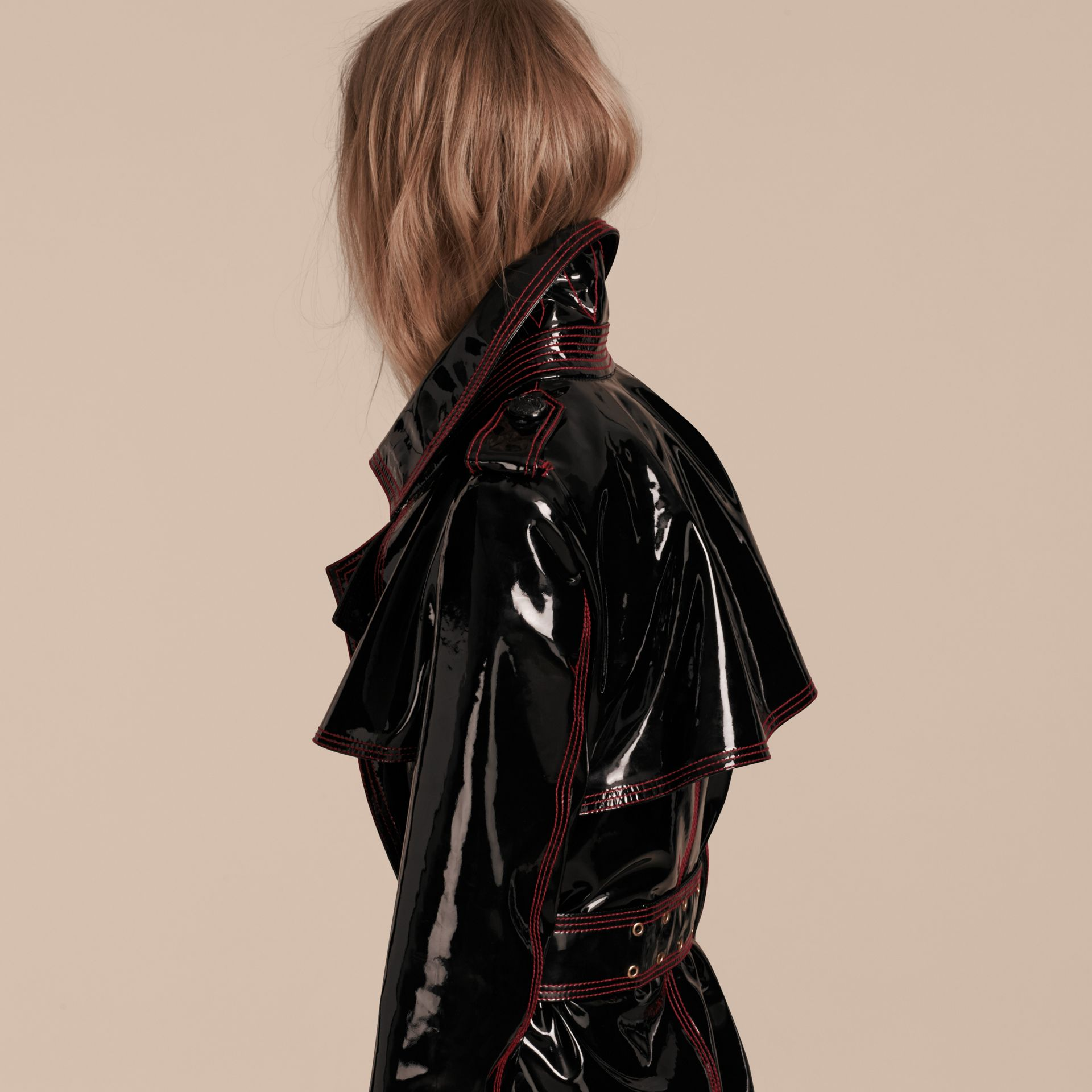 Black Unlined Patent Leather Trench Coat - gallery image 6