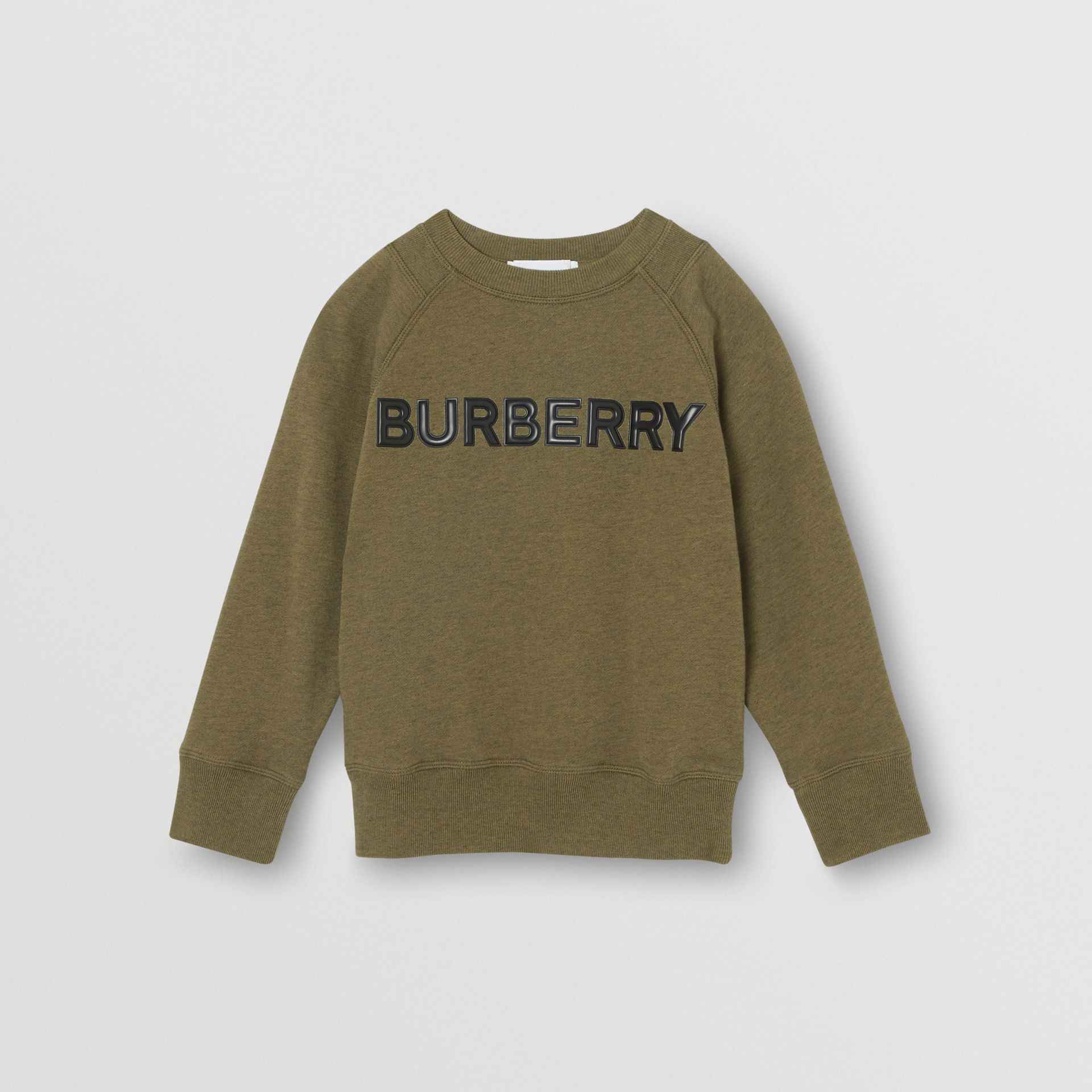 Logo Detail Cotton Sweatshirt in Military Olive | Burberry Australia - gallery image 0