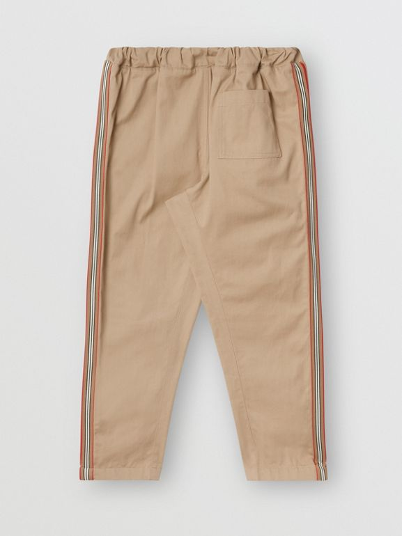Icon Stripe Detail Cotton Chinos in Honey | Burberry - cell image 1